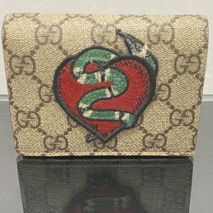 Gucci Beige/Ebony GG Supreme Snake ❤️ Embroidered
